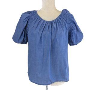 Joie Blue Lirona Puff Sleeve Cotton Top M